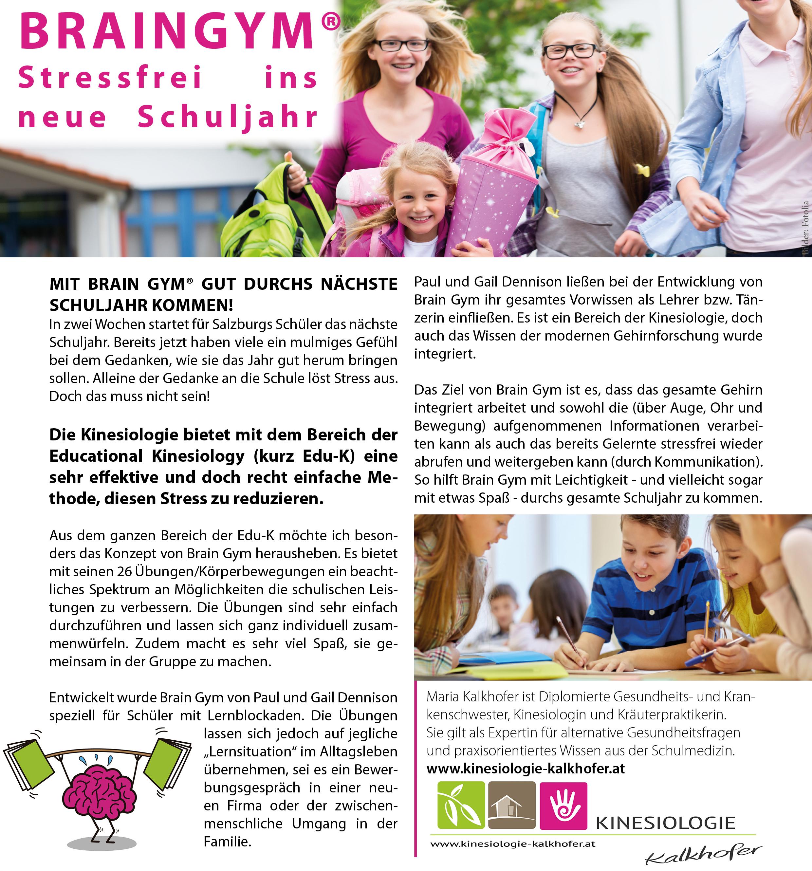 September 2015 - BrainGym - Stressfrei ins neue Schuljahr